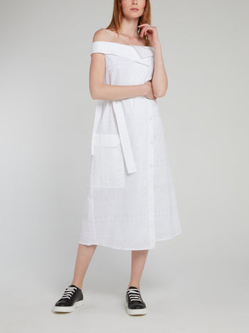 White Off-The-Shoulder Tie Front Midi Dress