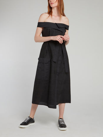 Black Off-The-Shoulder Tie Front Midi Dress