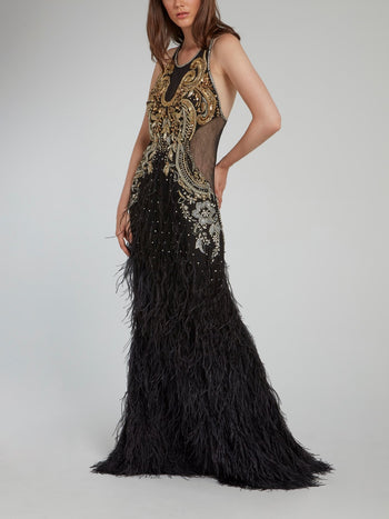 Baroque Embellished Feather Detailed Maxi Dress
