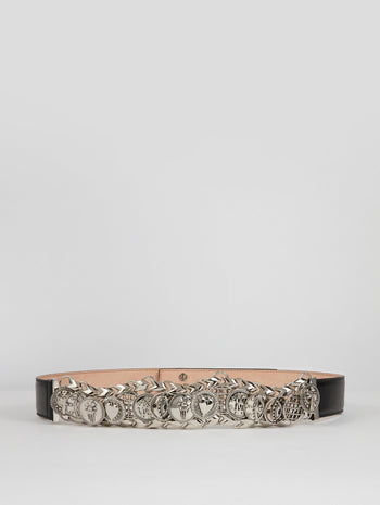 Selleria Silver Embellished Leather Belt