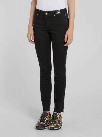 Black Frayed Denim Skinny Jeans