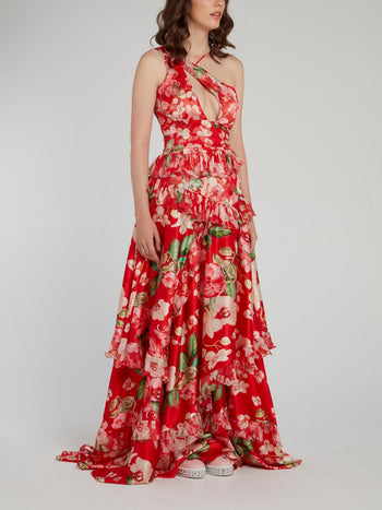 Red Floral Tiered Frill Maxi Dress