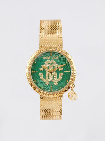 Gold Tone with Green Dial Logo Watch