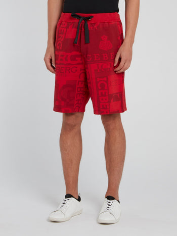 Red Logo Print Drawstring Shorts