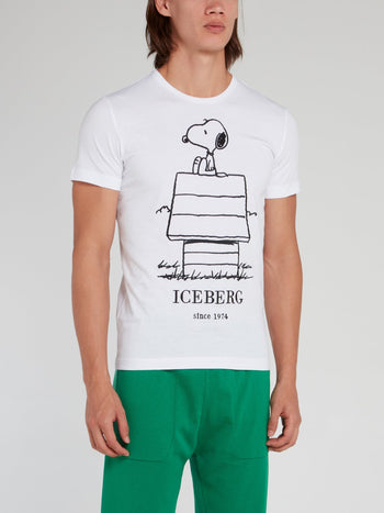 Snoopy Sketch White Cotton T-Shirt