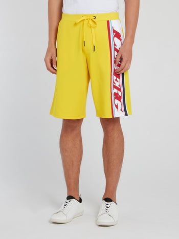 Yellow Logo Stripe Drawstring Shorts