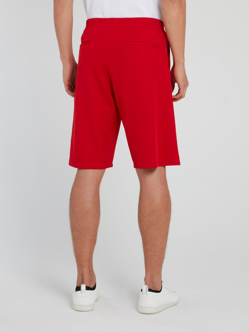 Red Logo Stripe Drawstring Shorts