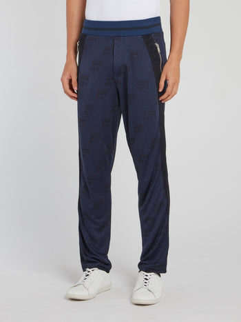Navy Ribbed Waistband Side Stripe Pants
