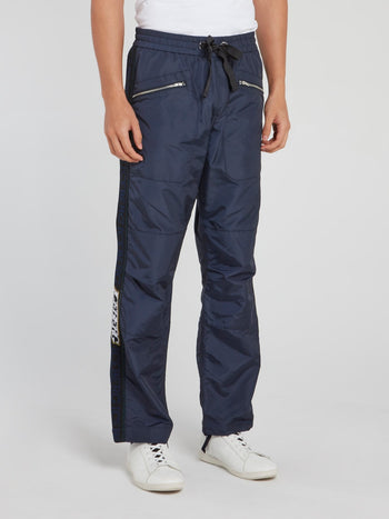 Navy Logo Side Stripe Drawstring Pants
