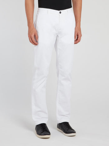 White Straight Cut Trousers