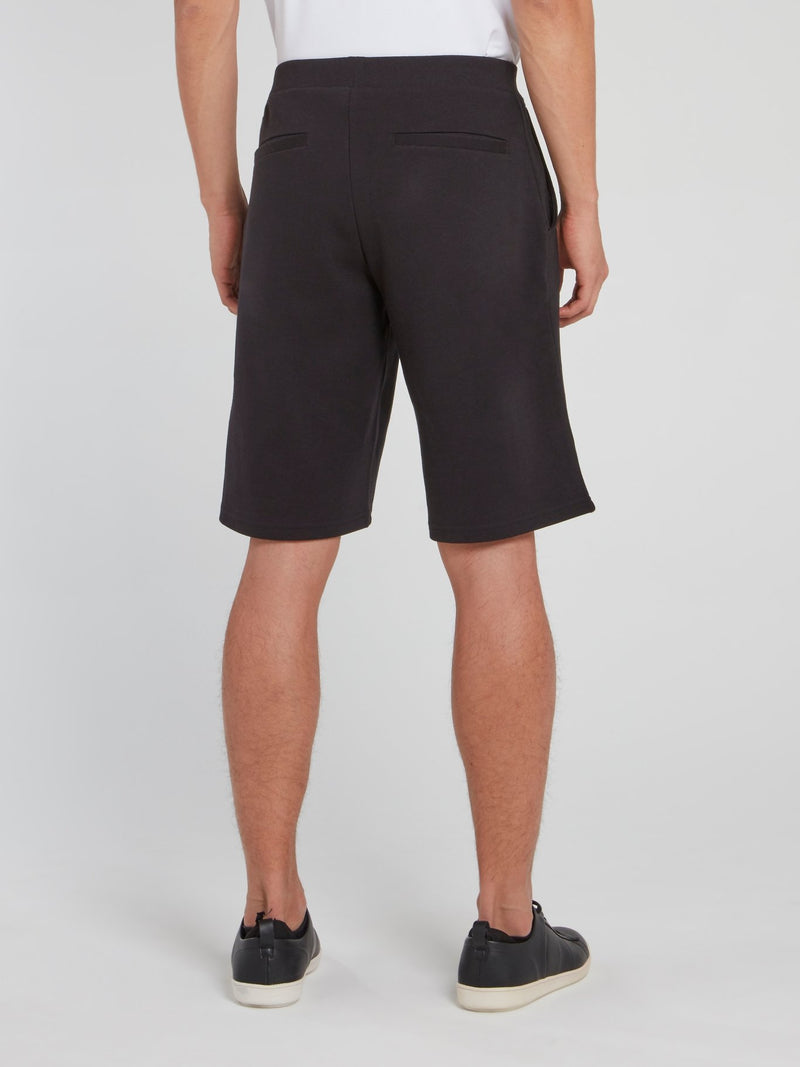 Black Logo Drawstring Knitted Shorts