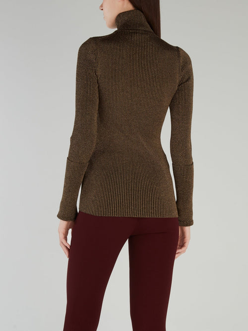Glitter Fabric Turtleneck Sweater