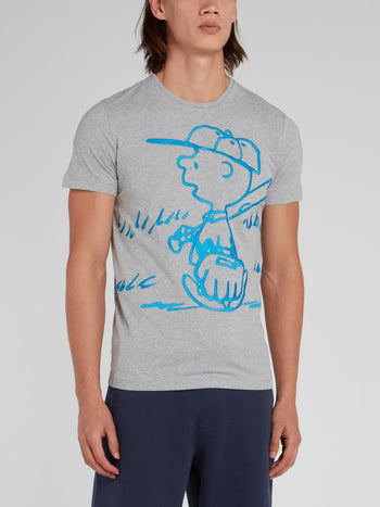 Charlie Brown Grey Cotton T-Shirt