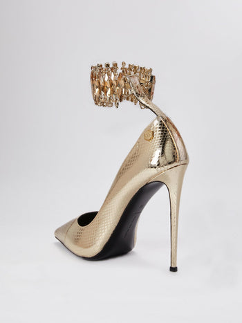 Gem Ankle Strap Snake Effect Pumps