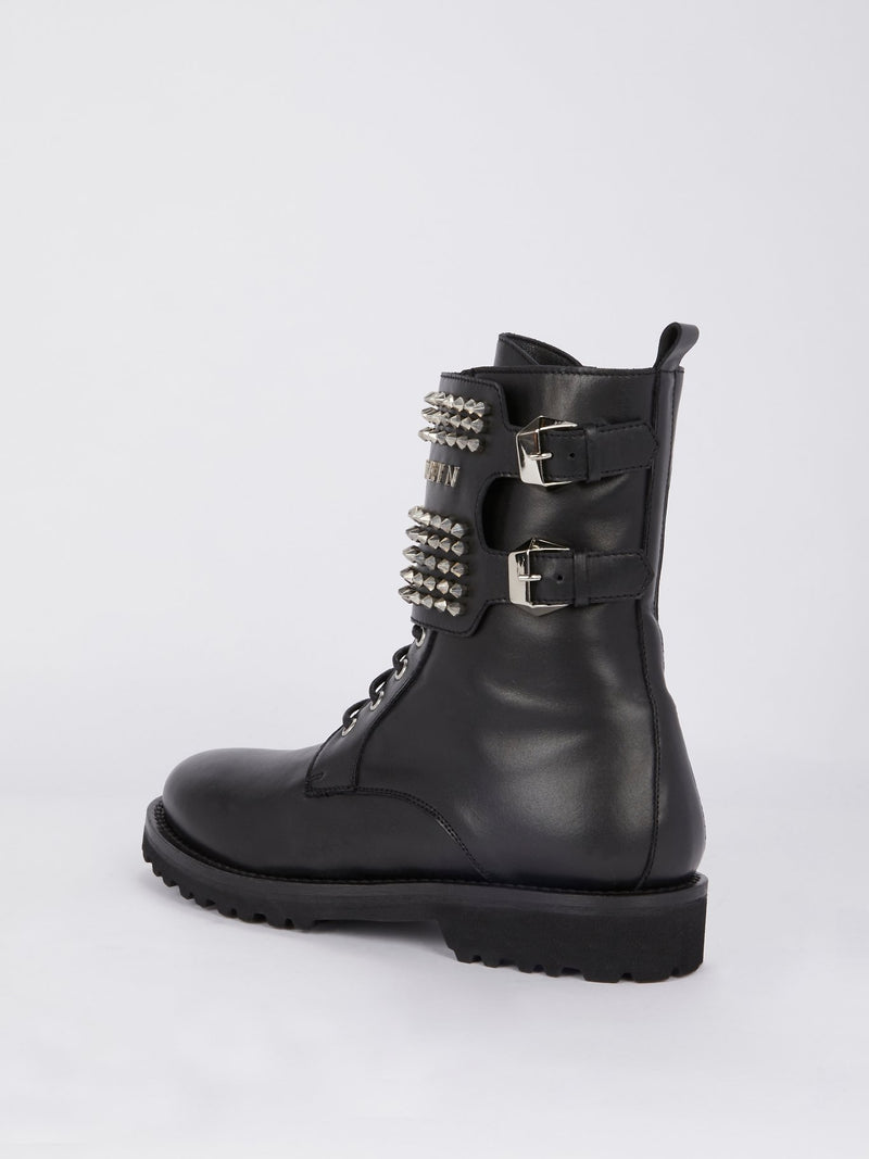 Studded Leather Combat Boots