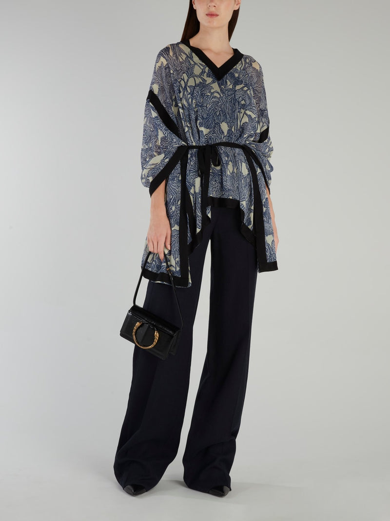 Navy Knitted Palazzo Pants