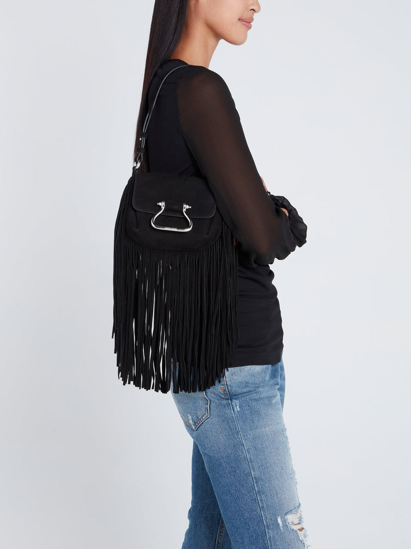 Black Suede Fringe Shoulder Bag