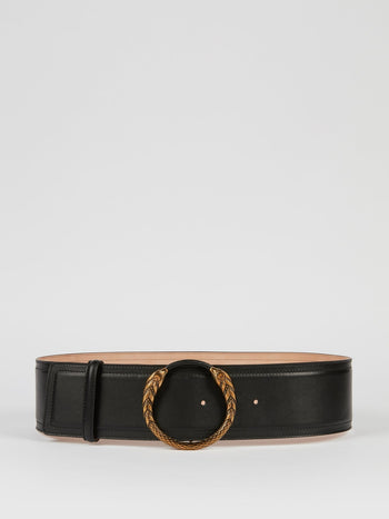 Snake Buckle Black Leather Belt