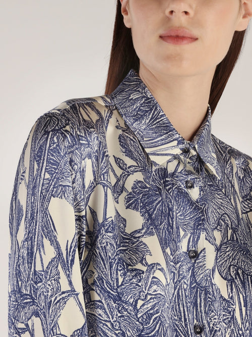 Tropical Print Silk Shirt
