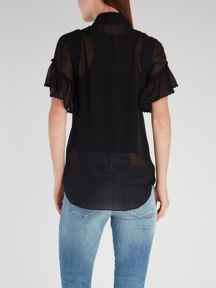 Black Flared Short Sleeve Shirt