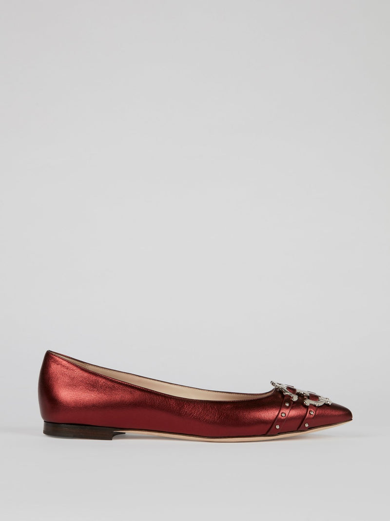 Red Leather Monogram Flats