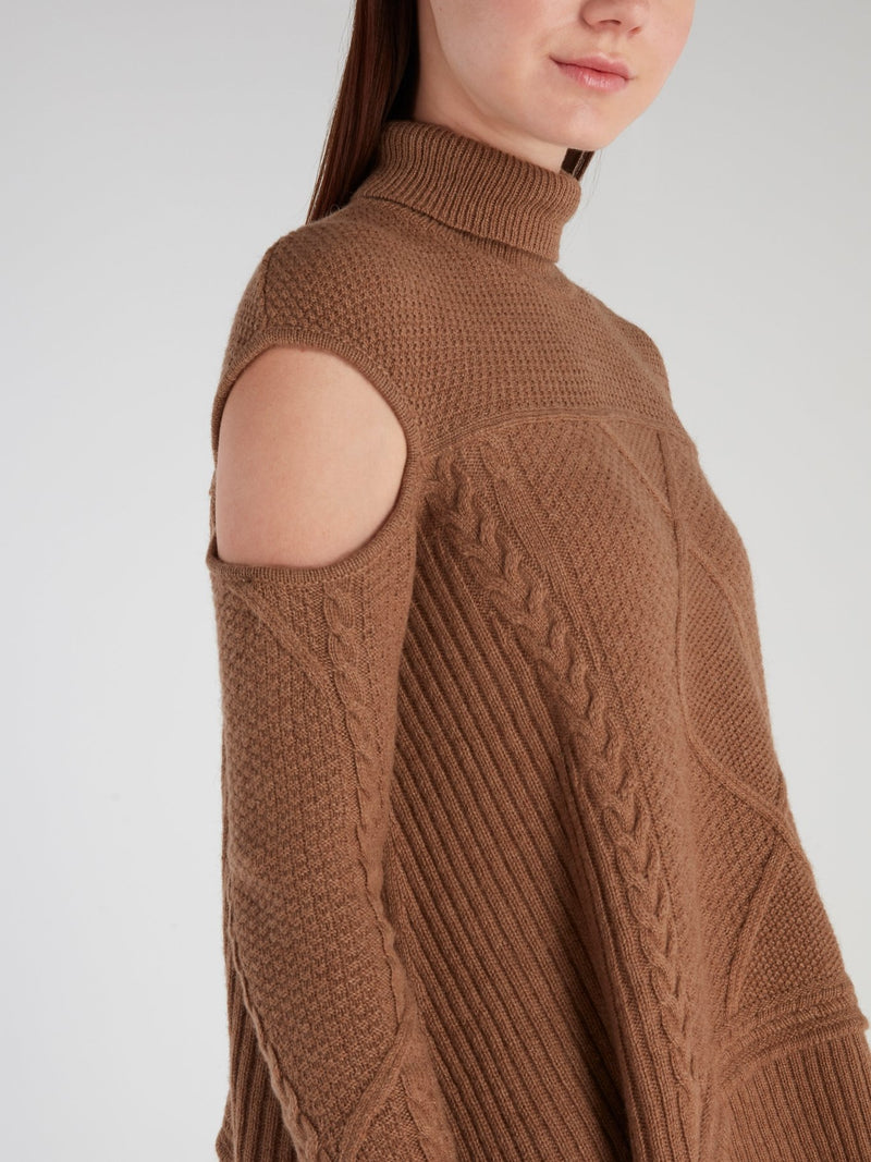 Brown Cut Out Turtleneck Sweater