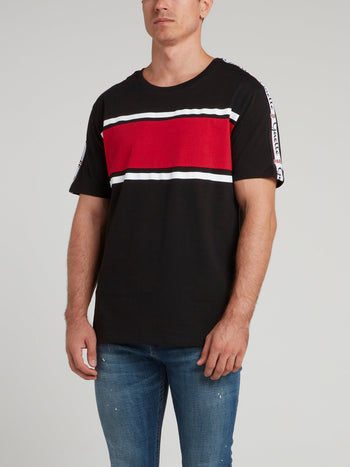 Black Logo Shoulder Stripe Jersey T-Shirt