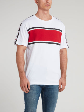 White Logo Shoulder Stripe Jersey T-Shirt
