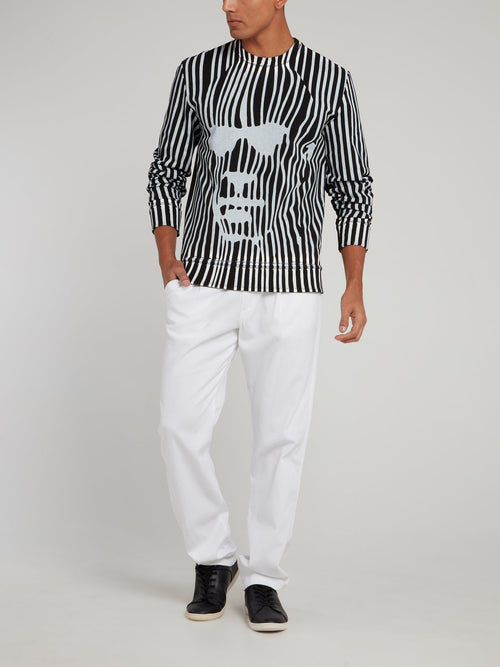 White Straight Cut Pants
