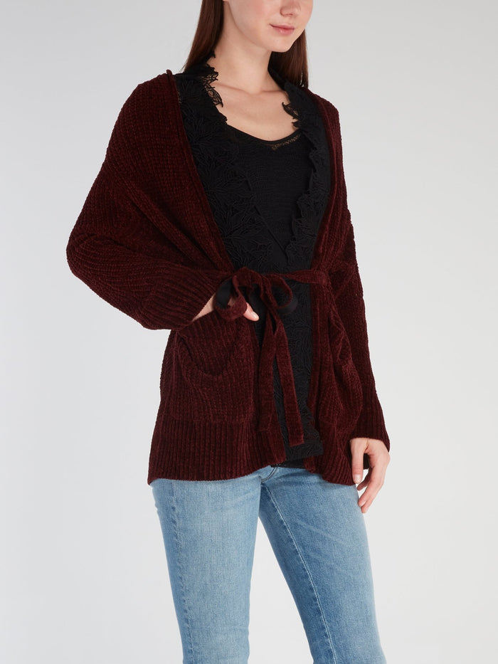 Burgundy Lace Panel Ribbed Cardigan