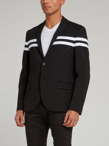 Black Stripe Panel Blazer