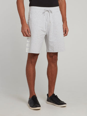 Grey Side Logo Drawstring Shorts