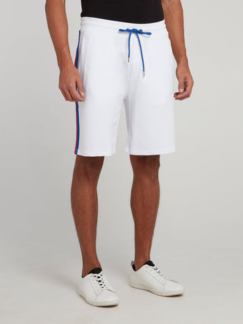 White Side Stripe Drawstring Shorts