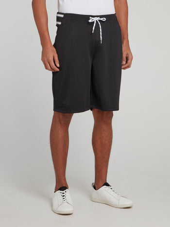 Black Stripe Waist Drawstring Shorts