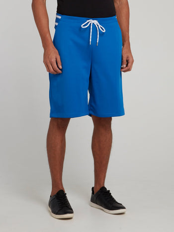 Blue Stripe Waist Drawstring Shorts