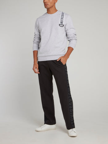 Black Logo Side Stripe Fleece Pants