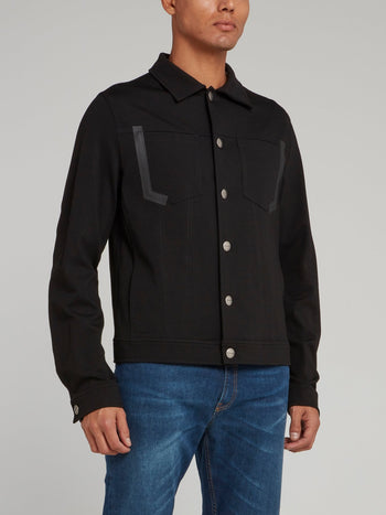 Black Jean Button Jacket