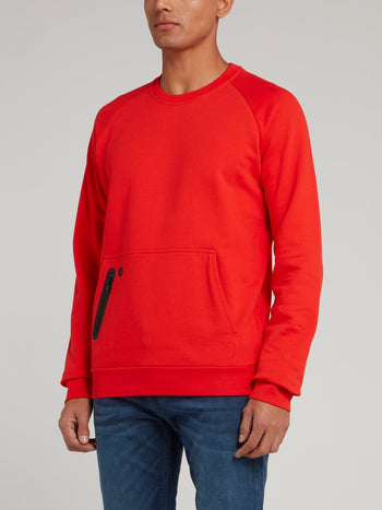 Red Rear Logo Print Sweatshirt