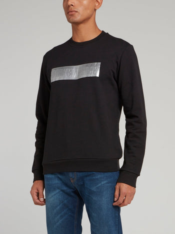 Black with Silver Logo Patch Sweatshirt