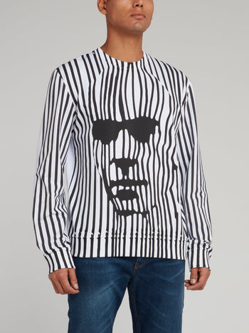 White Distorted Stripe Sweatshirt