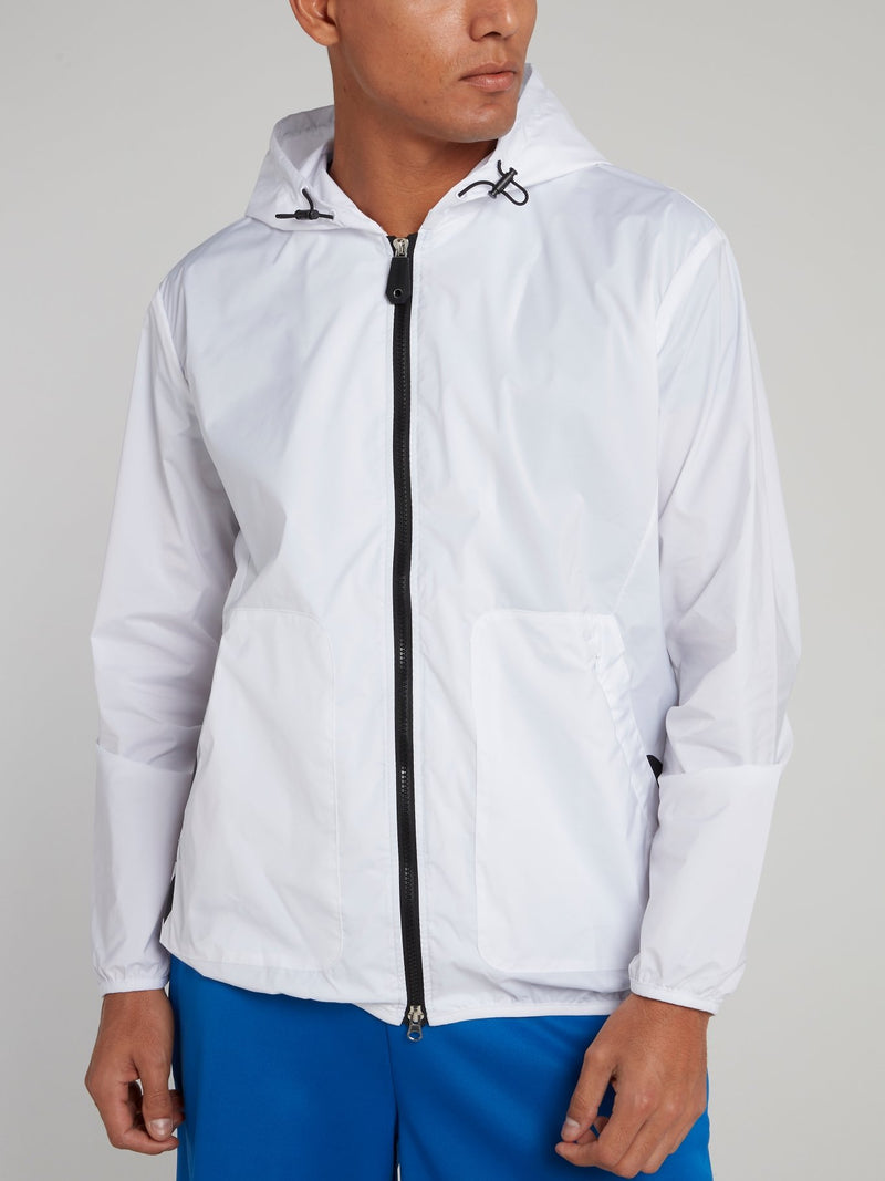 White Hooded Logo Jacket