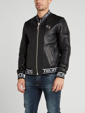 Black Logo Edge Leather Bomber Jacket