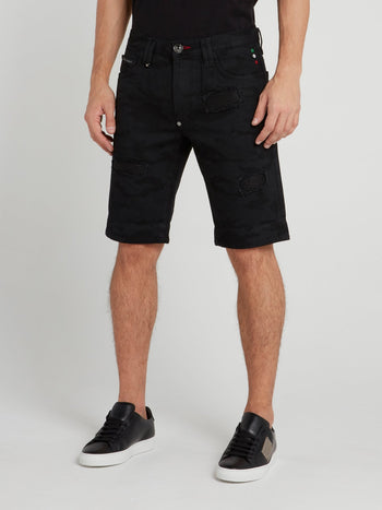 Black Camo Patched Denim Shorts