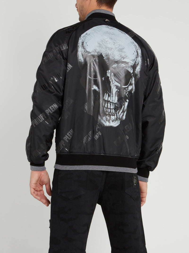 PP78 Black Monogram Print Skull Jacket