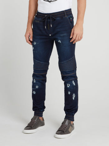 Navy Distressed Biker Trousers