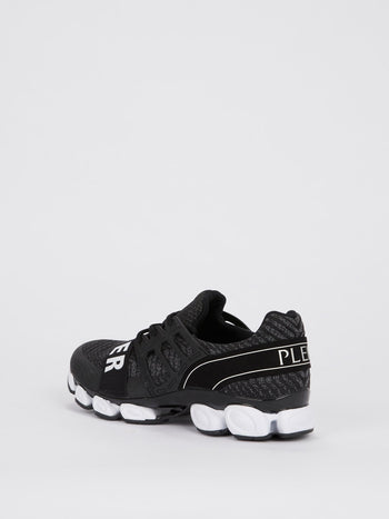 Black Front Strap Running Sneakers