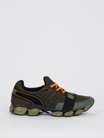 Olive Front Strap Running Sneakers