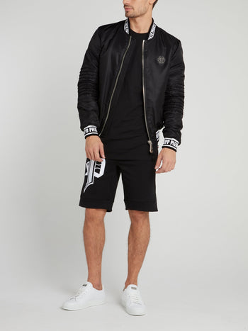 Black Logo Edge Bomber Jacket