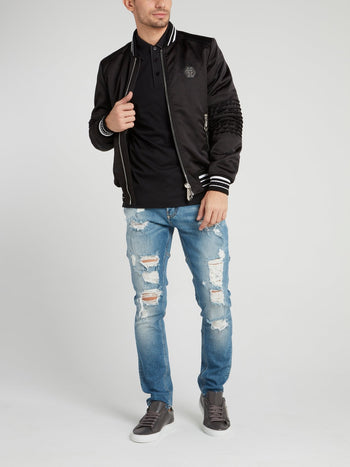 Black Stripe Edge Logo Bomber Jacket