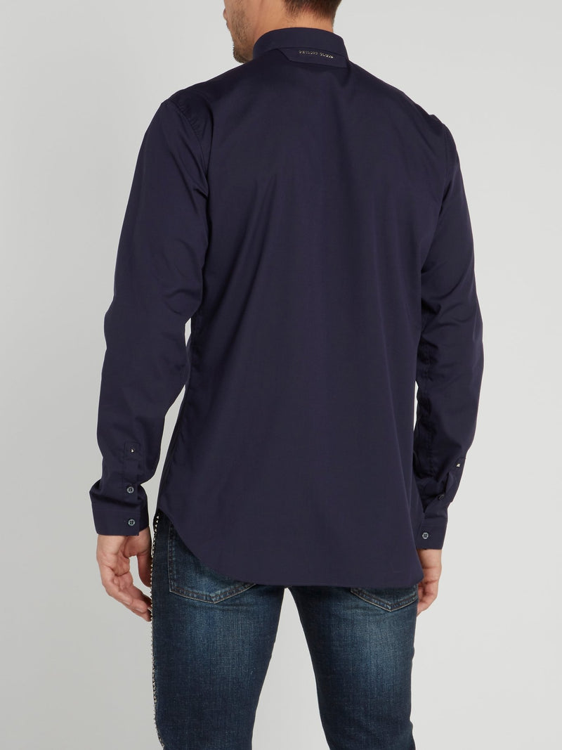 Navy Skull Embroidered Shirt